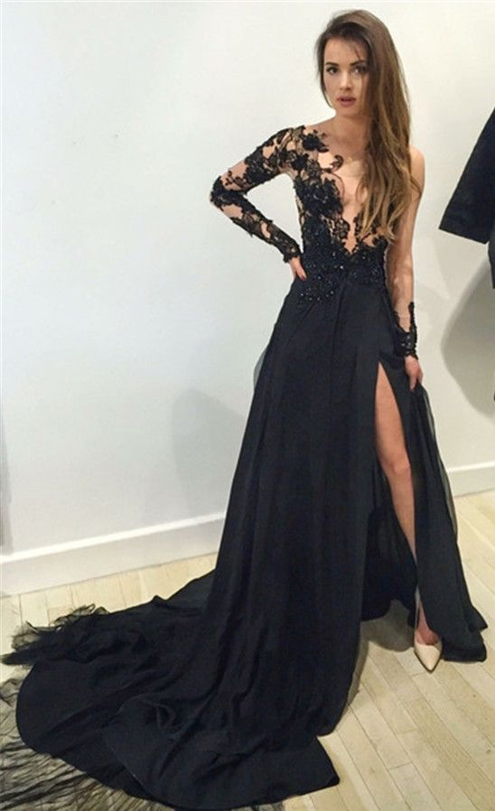2016 Black Long Sleeves Prom Dresses Lace Thigh-High Slit Sexy Evening Gowns 47a272752a43