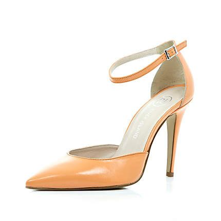 Light orange two-part pointed court shoes - heels - shoes / boots - women