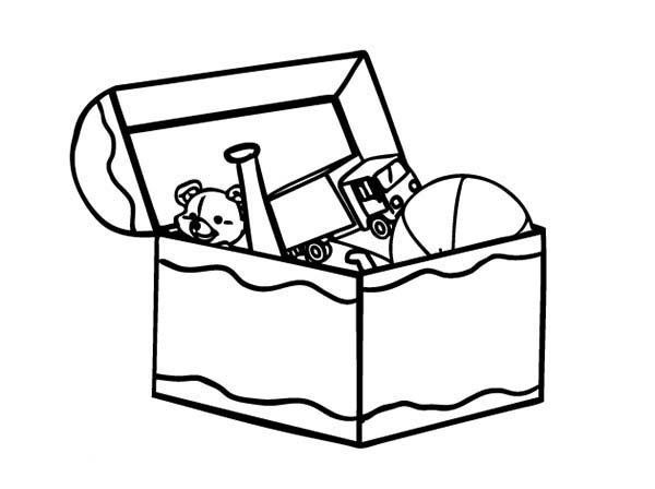 Kid Toy Box Coloring Page Coloring Sun Colorir