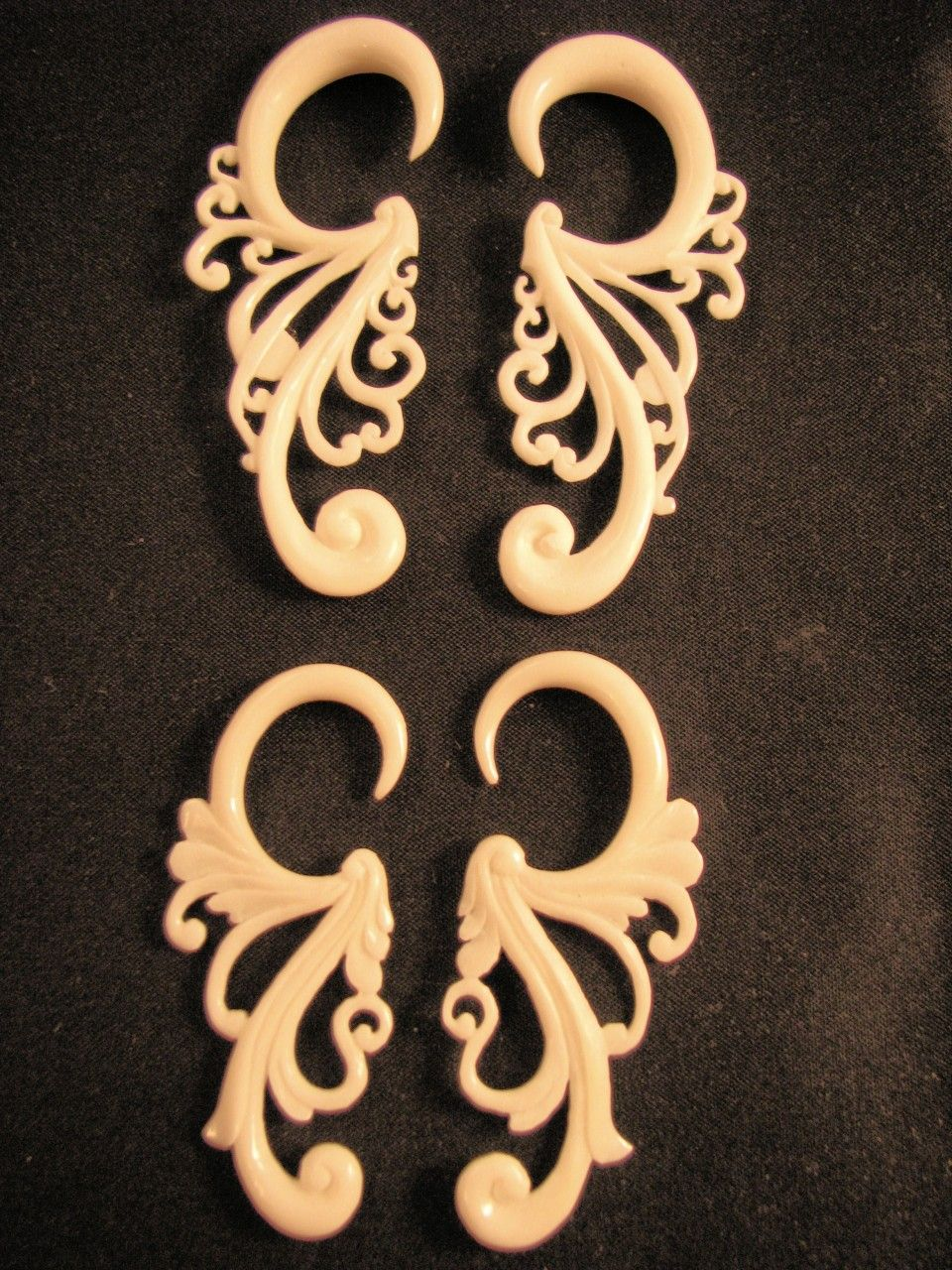 Cascade Organic Bone Spiral Ear Gauges 12g 0g Body Jewelry Gauged Earrings