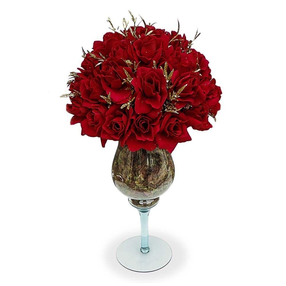 Arranjos De Flores Artificiais Rosas Vermelhas Taca De Vidro Para