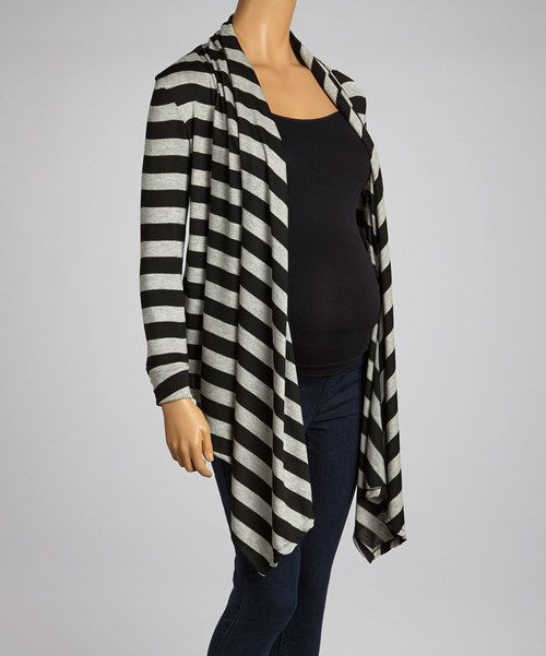 Black Stripe Maternity Open Cardigan by GLAM
