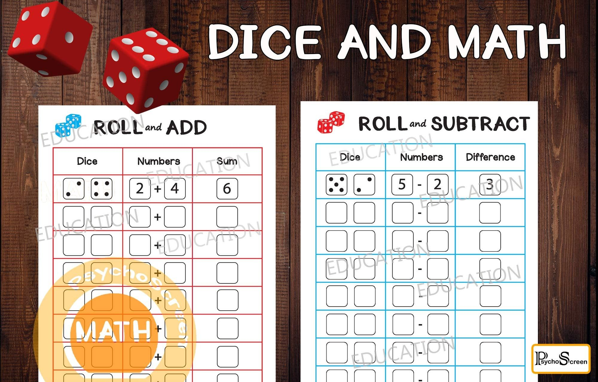 Math Game With Dice Roll And Add Roll And Subtract Etsy In 2021 Math Subtraction Montessori Materials Math war addition and subtraction game