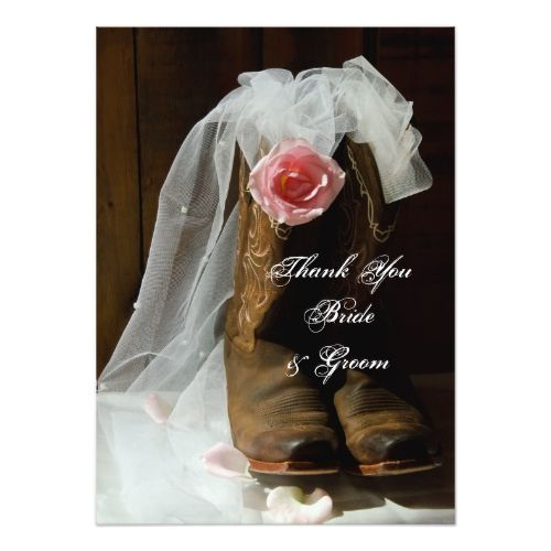 Country Rose Cowboy Boots Wedding Thank You Notes Card