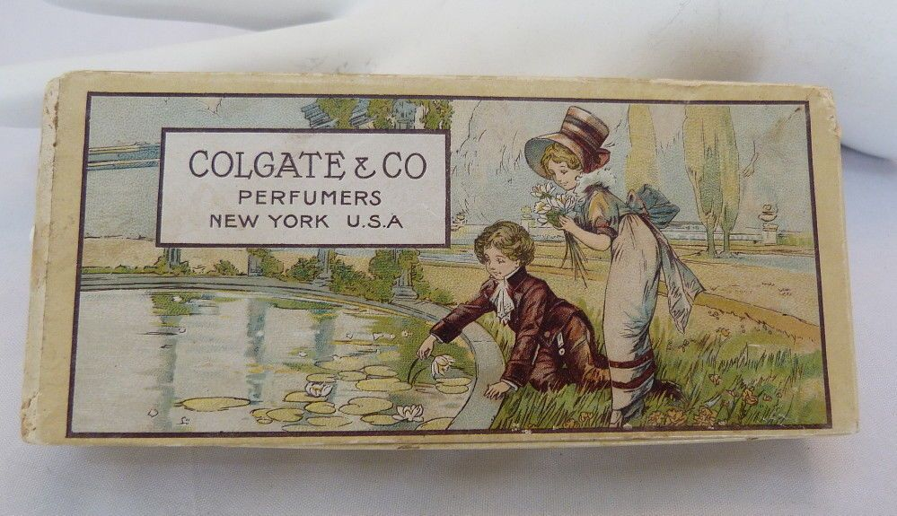 RARE VINTAGE 1900s COLGATE MINIATURE SIZE EXTRACTS SET 5 ORIGINAL GRAPHICS BOX