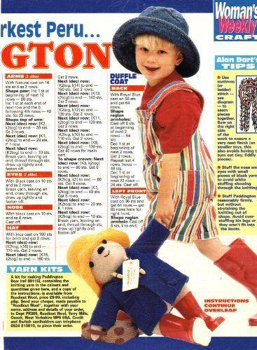 Knitting Toys Magazine : Paddington bear toy by alan dart knitting pattern