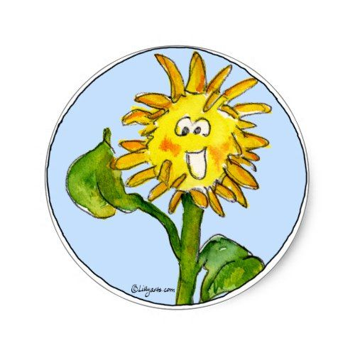 Sunflower Clipart Sticker 4 | Zazzle.com | Sunflower ...