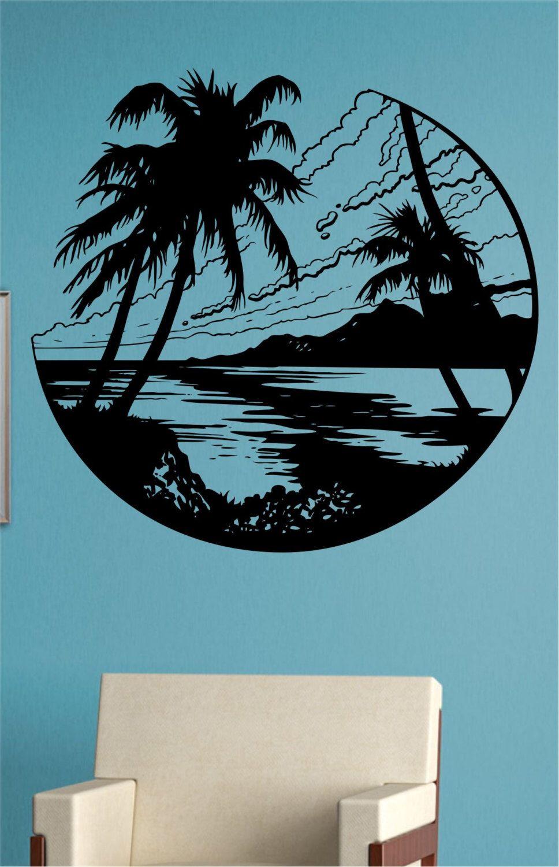 Beach scene vinyl wall decal sticker art decor bedroom