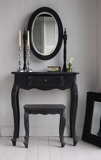 small black vanity table. Master bedroom  Black dressing table I like this style For the