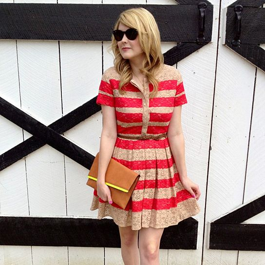 (99+) Lace Striped Dress from Poppy