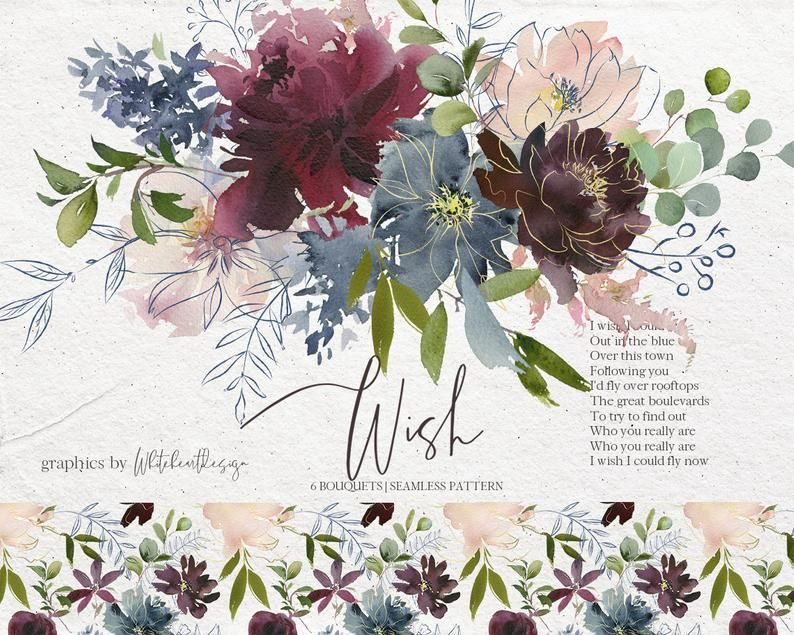 Wish Bordo Navy Watercolor Floral Clipart Burgundy Red Pink Dusty Blue Flowers Png Bouquets Wedding Clip Art Wine Colors Indigo Pattern Floral Watercolor Wedding Flowers Slate Blue Wedding