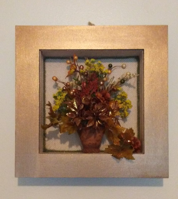 Floral shadow box floral arrangement floral wall art Painting arrangements on wall