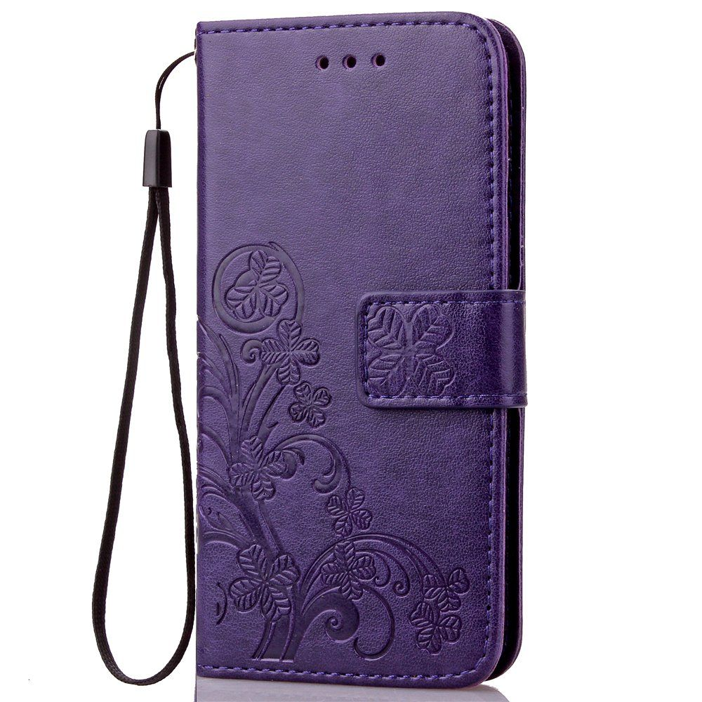 Fashion Floral Clover Embossed Pu Leather Magnetic Flip Cover Card Holders  & Hand Strap Wallet Purse