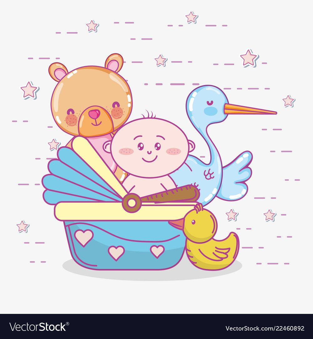 Baby shower toys and celebration cute cartoons vector