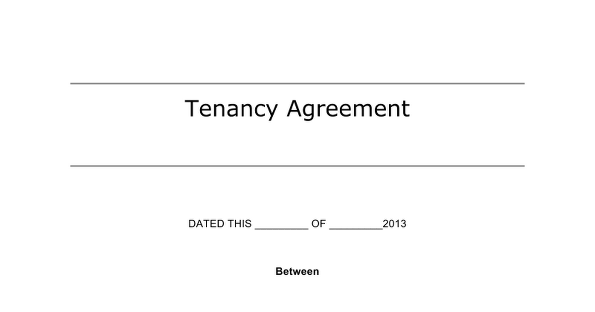 Tenancy Agreement Dated This  Of  Between