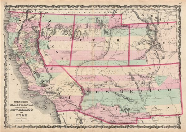 1861 Johnson Map of California Nevada Utah New Mexico Colorado