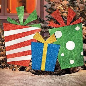 Outdoor Christmas Presents Gifts Yard Art Display Holiday