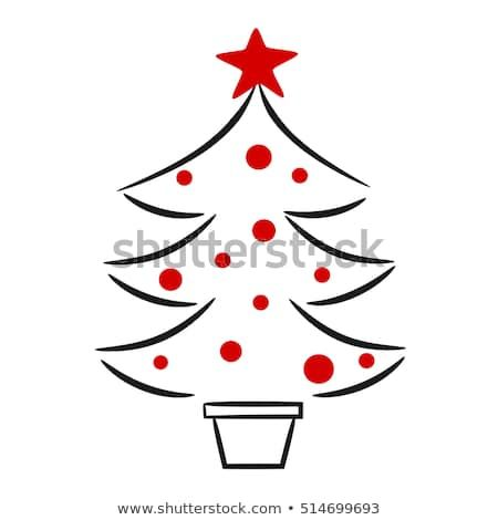 cute hand drawn black white red christmas tree linear vector