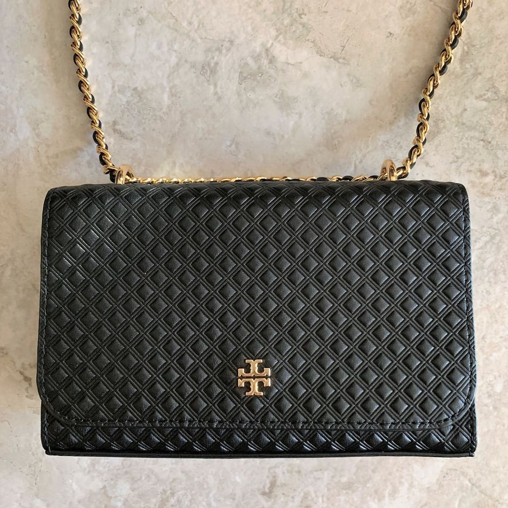 0625a7e2178 TORY BURCH Marion Embossed Shrunken Shoulder Bag ~ Black Leather Chain  Crossbody  ToryBurch  MessengerCrossBody