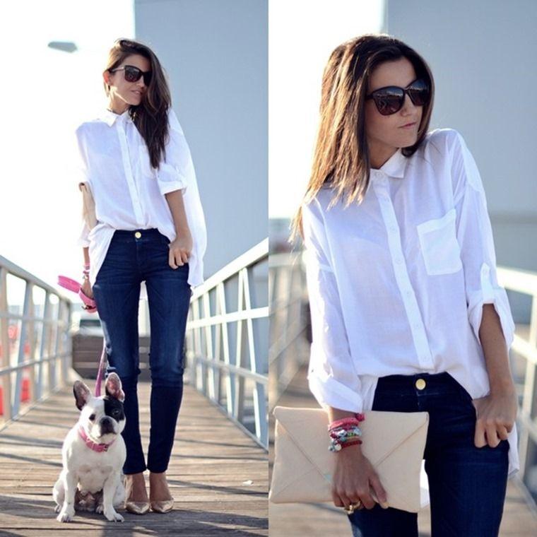 61aeafc0c con jeans azul marino Look Con Camisa Blanca