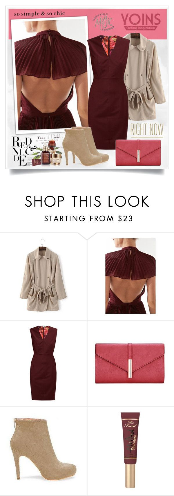"""Yoins200"" by sneky ❤ liked on Polyvore featuring Keepsake the Label, Ted Baker, Too Faced Cosmetics and Estée Lauder"
