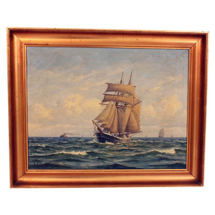 Vintage The Fleet Framed Oil Painting