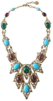 Ben-Amun Ben-amun Woman Gold-tone, Stone And Crystal Beaded Necklace Turquoise Size