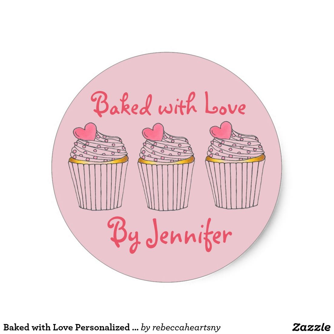 Baked with love personalized pink cupcake heart classic round