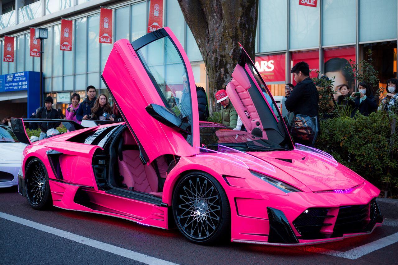 Tokyo Street Photography Super Luxury Cars Pink Lamborghini Lambo Truck