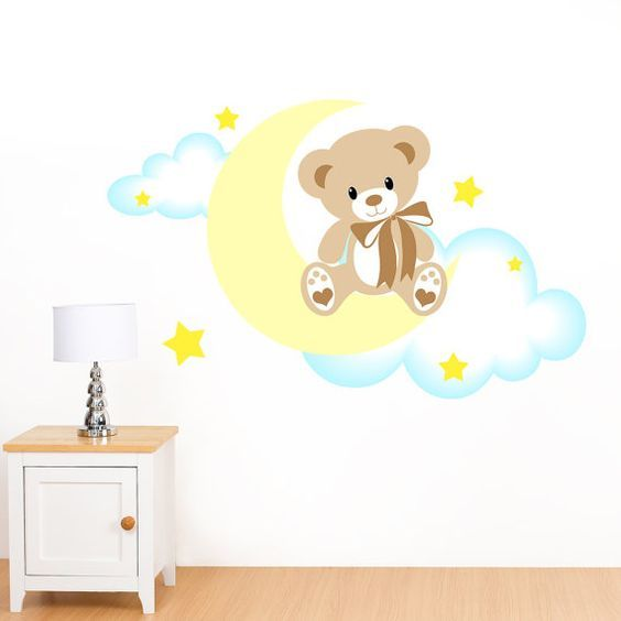 Goodnight Teddy Bear on the Moon, Clouds & Stars Mural Wall Sticker ...