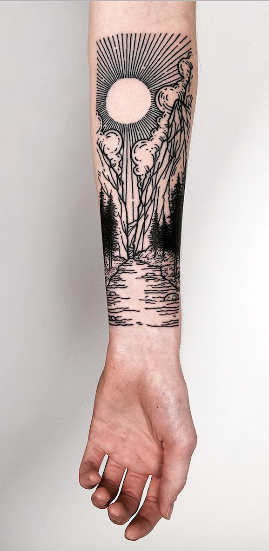 Lisa Orth S Linework Landscape And Nature Tattoos To Celebrate Your Untameable Spirit There S Tatuagens Sobre Natureza Tatuagem De Manga Tatuagem De Paisagem