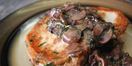 Pan Rushed Pork Chops with Tarragon Mushrooms recipe Chef Michael Smith