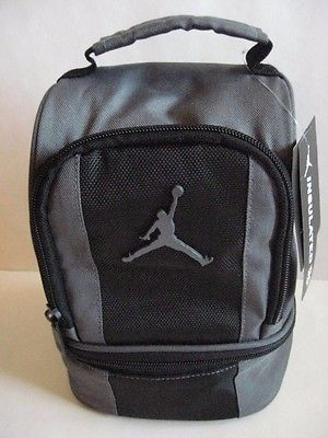 New NIKE AIR JORDAN INSULATED DOME 2-PART LUNCH TOTE BAG BOX Black Gray  Jumpman