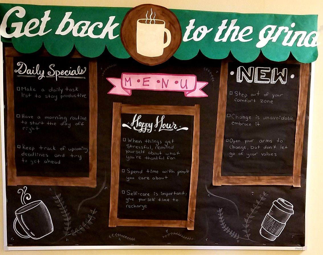 Bulletin Board: Back to the Grind #reslife #RA #coffee #backtoschool #motivation #CA #starbucks #newyear #grind #grindneverstops #bulletinboard #rabulletinboards