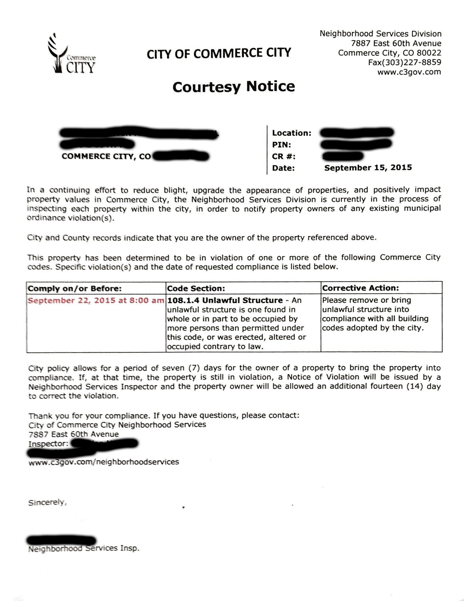 Commerce City Zoning Courtesy Notice  0001