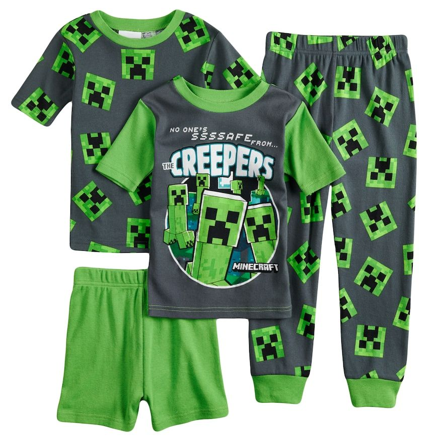 0dc367c683 Boys 6-12 Minecraft Creeper 4-Piece Pajama Set, Size: 12, Multicolor