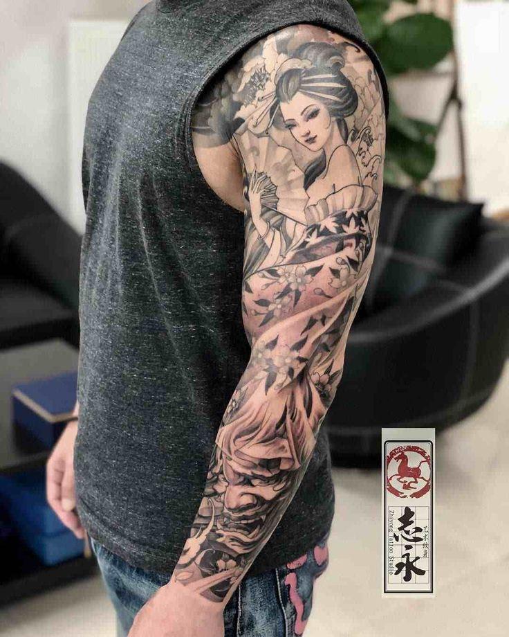 Tattoo Japaner Geisha Voller Arm Tattoo Mann Geisha Tattoos Arm Tattoo Graues Tattoo