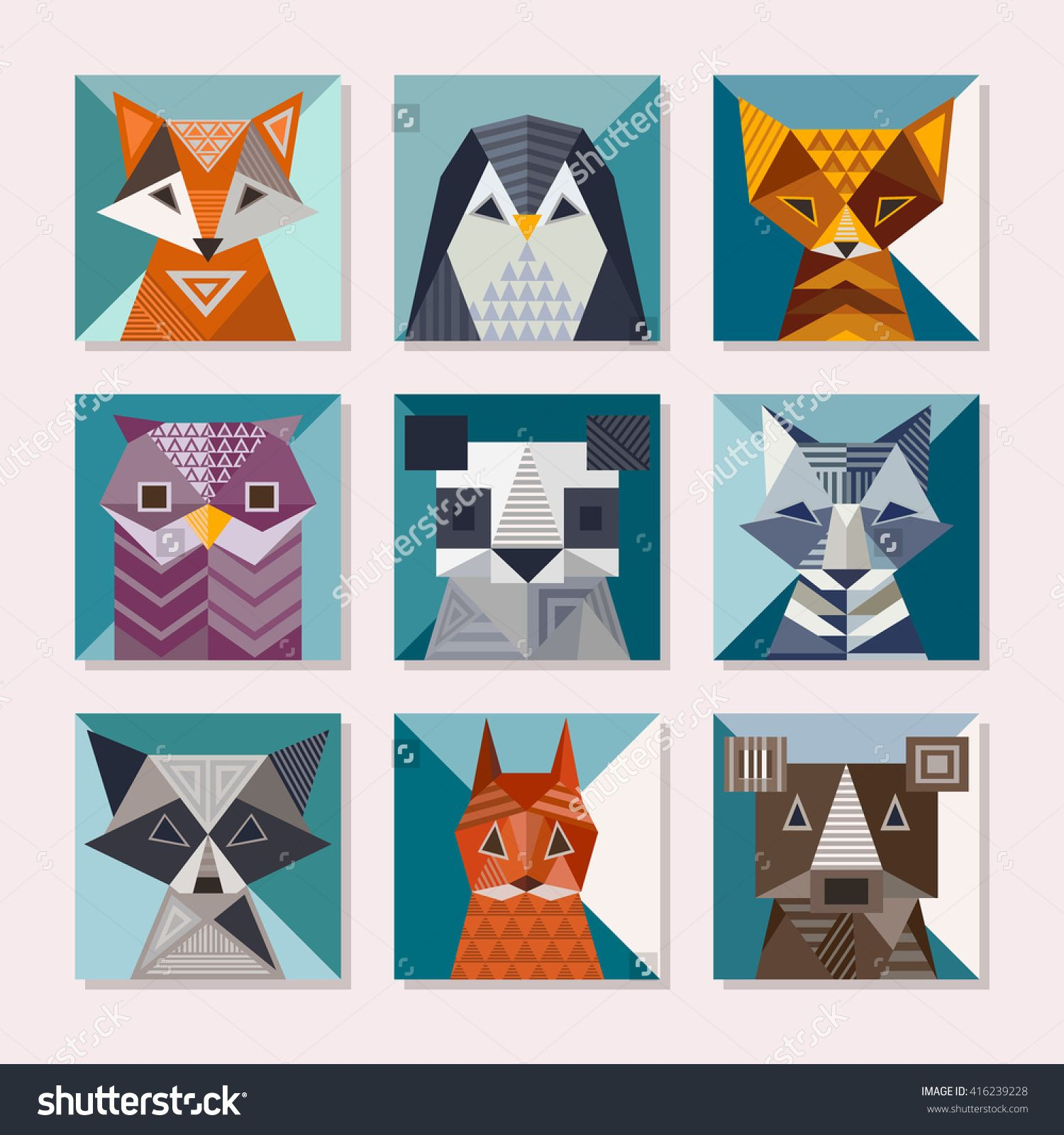 cute cards with geometric shapes fox penguin cat owl panda wolf bear raccoon squirrel and bear vector illustrations 416239228 shutterstock