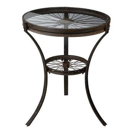 2 Tier End Table With Spoke Wheels Under Glass Tops Product Side Table Construction Material Metal And Gla Industrial Side Table
