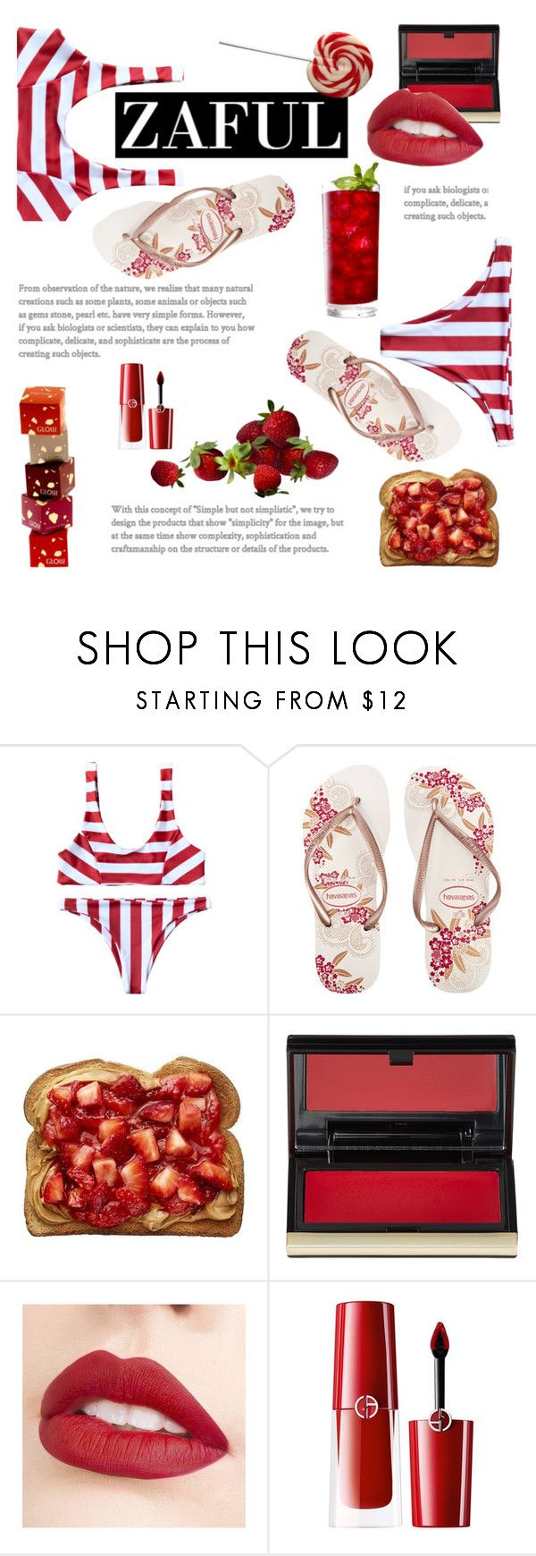 """609"" by fanfanfanfannnn ❤ liked on Polyvore featuring Havaianas, Kevyn Aucoin, Jouer, Giorgio Armani, aniversary and zaful"