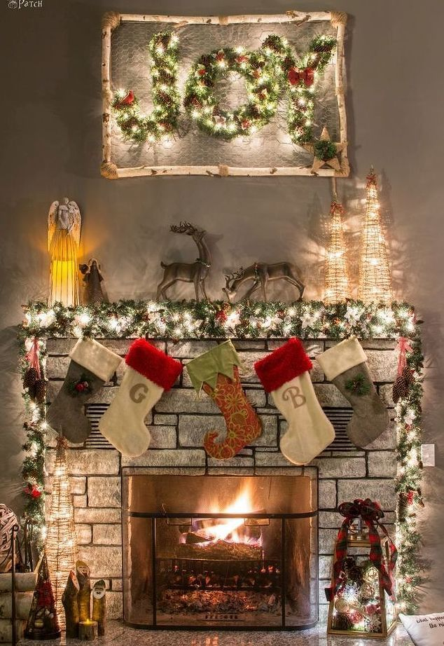 how to decorate a narrow stone mantel for christmas in 5 minutes christmas pinterest mantels decorating and stone - Decorating Fireplace Mantels For Christmas Pinterest