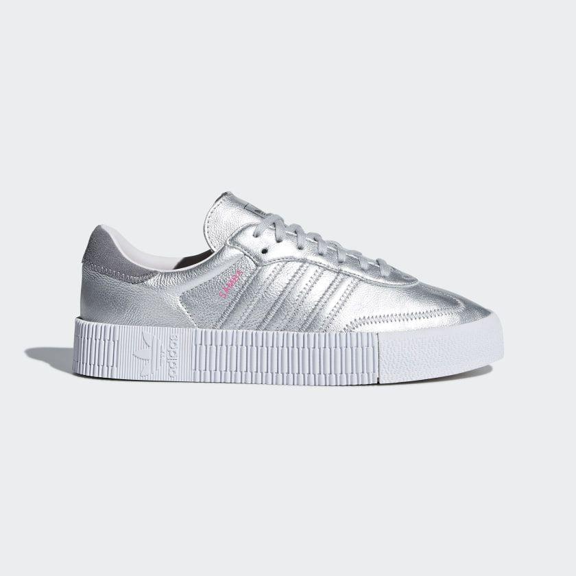 Samba Rose Shoes Silver Womens | Samba shoes, Silver shoes