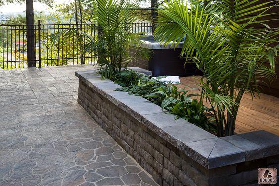 Muret Laurentien, brun terracotta et pavé Luna, beige indiana - pave pour terrasse exterieur