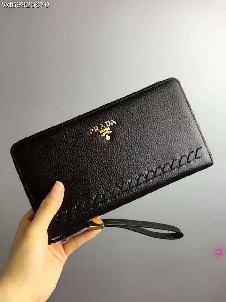 ac70695af8a9 Men's Wallets Solid Leather Long Wallet Portable Cash Purses Casual  Standard Wallets Male Clutch Bag PRADA,38USD