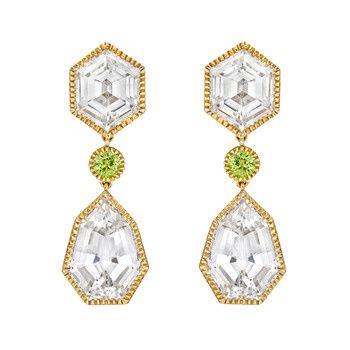 Verdura Jewelry Earrings Byzantine White Topaz Drop With Peridot