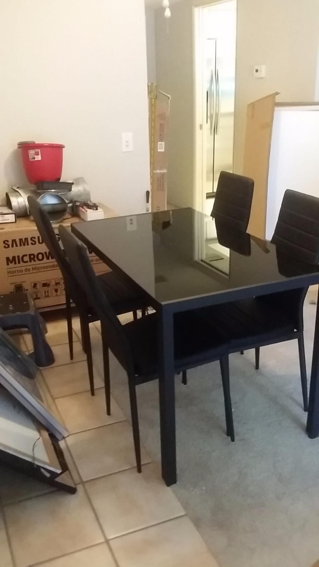 Kitchen Dining Chairs Cabinets Colorado Springs Amazon Com Giantex 5 Piece Set Glass Metal Table And 4 Breakfast Furniture Chair Sets