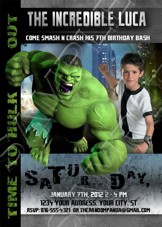 Printable INCREDIBLE HULK Birthday Invitations By Therandompanda Via Etsy