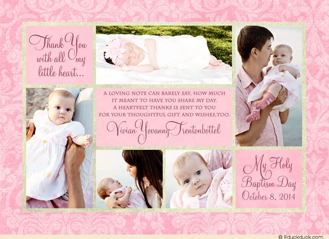 Baptism Multi-Photo Collage Thank You Card - Baby Girl Pink Damask - invitation for baptism girl