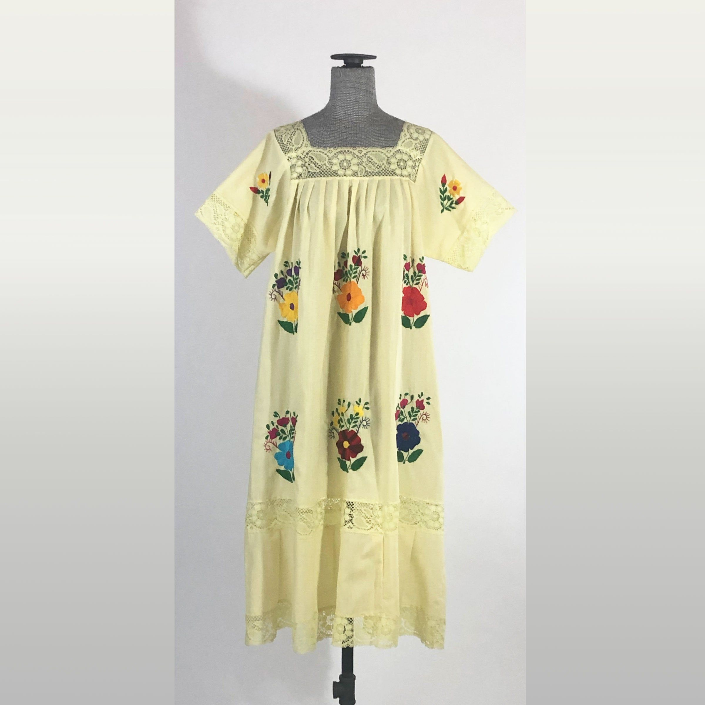 Vintage Pale Yellow Hand Embroidered Mexican Dress Floral Etsy Mexican Dresses Yoke Dress Dresses [ 2400 x 2400 Pixel ]