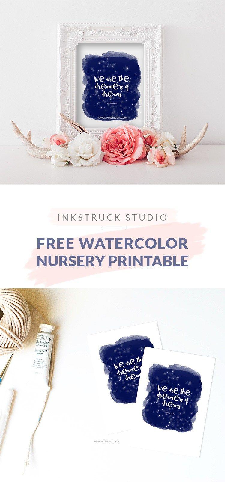 Free Watercolor Nursery Printable Watercolor Printable Designs